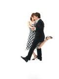 Passionerade danspar på vit bakgrund Fotografering för Bildbyråer