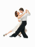 Passionerade danspar på vit bakgrund Royaltyfri Fotografi