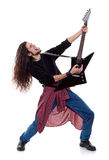 passionerat leka för gitarrist arkivbilder