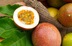 Passionfruit. Half cut passion fruit with golden yellow pulp Royalty Free Stock Photo