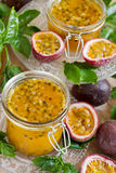 Passionfruit jam Stock Photo