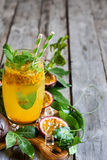 Passionfruit lemonade background Stock Photos