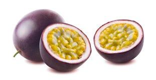 Passionfruit maraquia kopii opcje na białym backgroun fotografia stock