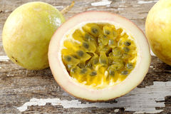 Passionfruit on wooden background Royalty Free Stock Photo