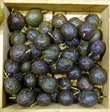 Passion Fruits in a Wooden Box Royalty Free Stock Images