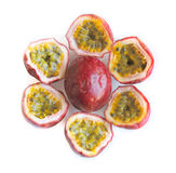 Passionfruits. Sliced fruits on white background Stock Photos