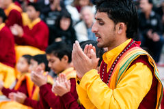 Passionné à l'ashram Ganga Aarti (Rishikesh, Inde) de Parmath Nikethan photos stock