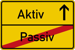 Passive and active. The German words for passive and active (passiv and aktiv) on a road sign Royalty Free Stock Photo