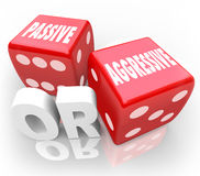 Passive or Aggressive Words Two Red Dice Bold Vs Meek Stock Photography