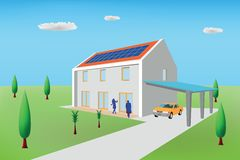 Passive house with photovoltaic panels Stock Photography