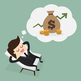 Passive income. Business man dreaming about money Stock Photography