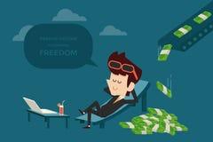 Passive income. Businessman and passive income flat design royalty free illustration