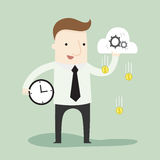 Passive income on Cloud Processing. Vector illustration business and education cartoon Royalty Free Stock Image