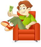 Passive income concept. Young entrepreneur making money while he relax on the sofa. passive income concept Stock Photography