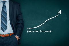 Passive income. Concept. Businessman with hands in passive gesture and increasing graph with text royalty free stock photography