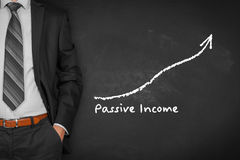 Passive income. Concept. Businessman with hands in passive gesture and increasing graph with text Royalty Free Stock Images