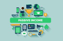 Passive Income Illustration. Passive Income Concept Illustration With Vector Icons Stock Photography