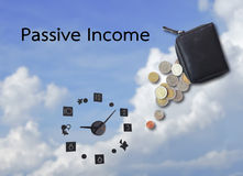 Passive income. Concept of passive income or money expense and time Royalty Free Stock Image