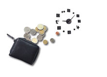 Passive income. Concept of passive income or money expense and time on white background Stock Photo