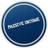 PASSIVE INCOME distressed text on blue round badge. Illustration Stock Image