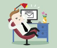 Passive income from email in my work. Vector illustration business cartoon concept stock illustration