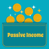 Passive income. Gold coins fall into the pocket. Flat design. Stock Photos