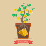Passive income from gold fund. Business concept Royalty Free Stock Images