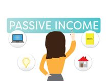 Passive income illustration. Woman Pointing on a passive income sign. Woman Pointing on a passive income sign, passive income icons, white backgound Royalty Free Stock Image