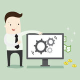 Passive income from internet. Vector illustration business cartoon Royalty Free Stock Photography