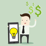 Passive income from mobile. Vector illustration business cartoon Royalty Free Stock Images