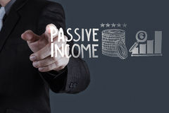 Passive income touch screen computer. Businessman hand pointing  passive income touch screen computer as concept Stock Photography