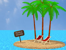 Passive income tropical island work anywhere concept. Small round tropical island with three palm trees two summer chairs and a sign saying passive income in a Royalty Free Stock Photography