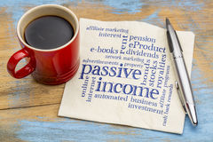 Passive income word cloud on a napkin - financial concept Royalty Free Stock Photography