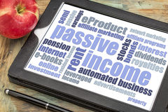 Passive income word cloud on a tablet Stock Image