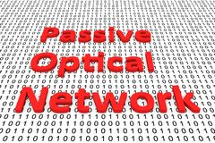 Passive optical network. In the form of binary code, 3D illustration Royalty Free Stock Images
