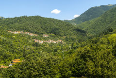 Passo del Cirone (Tuscany - Emilia) - Forest and villages Royalty Free Stock Image