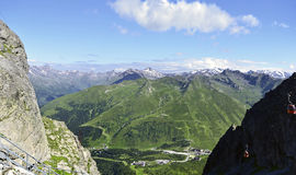 Passo del Tonale seen from the Paradiso pass in Lombardy, Italy Royalty Free Stock Images