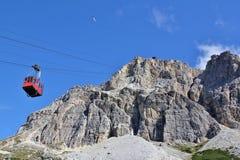 Passo Falzarego, Dolomites. Highest cable car in the Dolomites up to Rifugio Lagazuoi Royalty Free Stock Photo