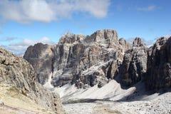Passo Falzarego, Dolomites. Route from Passo Falzarego up to Rifugio Lagazuoi Royalty Free Stock Photos