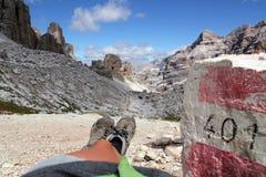 Passo Falzarego, Dolomites. Route from Passo Falzarego up to Rifugio Lagazuoi Royalty Free Stock Photo