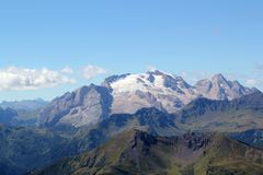 Passo Falzarego, Dolomites. View at the top of the route from Passo Falzarego up to Rifugio Lagazuoi Stock Photos