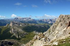 Passo Falzarego, Dolomites. View at the top of the rute from Passo Falzarego up to Rifugio Lagazuoi Royalty Free Stock Image