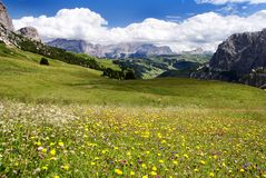 Passo gardena alias grodner joch - sella gruppe do Stock Photography