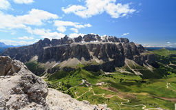 Passo Gardena and Sella mountain Stock Image
