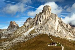 Passo Giau near Cortina d Ampezzo and mout Ra Gusela Royalty Free Stock Images