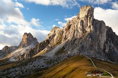 Passo Giau near Cortina d Ampezzo and mout Ra Gusela Stock Photos