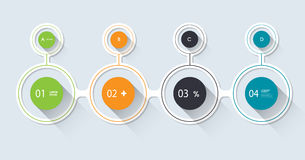 Passo a passo infographic mínimo Projeto longo da sombra ilustração stock