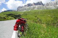 Passo Pordoi, Dolomites: a bicycle Stock Photography
