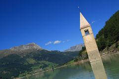 Passo Resia - Curon Bell Tower Stock Images