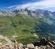 Passo San Pellegrino. Aerial view of San Pellegrino Pass, Trentino, Italy Stock Photos